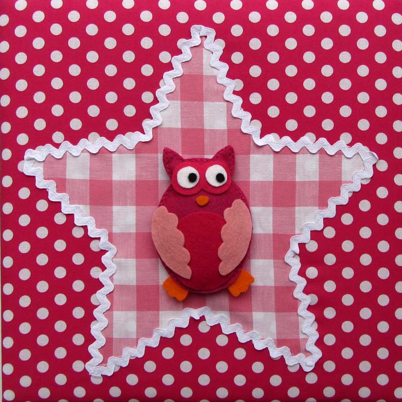 stoffen schilderij babykamer uil in fuchsia en roze, Deco ideeën