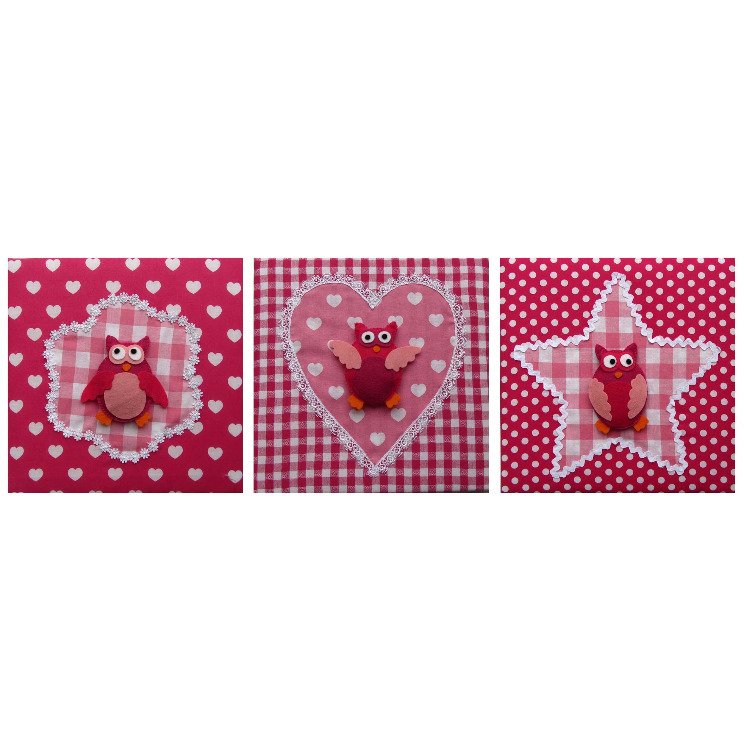 Stoffen schilderij babykamer uil in fuchsia en roze - Babykamer schilderij idee ...