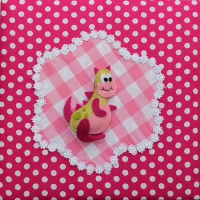 schilderij fuchsia roze draakje