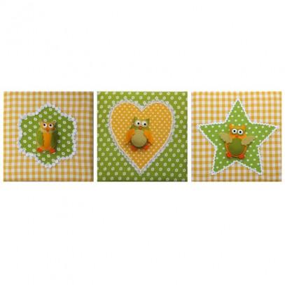 schilderijtjes babykamer uiltjes geel lime